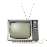 Vintage tv with antena. And wire Royalty Free Stock Image