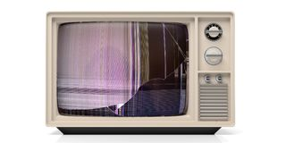 Vintage tv with broken glass isolated on white background. 3d illustration. Vintage tv monitor with broken glass isolated on white background. 3d illustration Royalty Free Stock Image