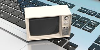 Vintage TV on a computer keyboard. 3d illustration Royalty Free Stock Photos