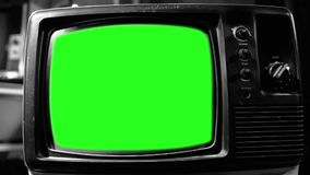 Vintage TV con la pantalla verde Tiro blanco y negro