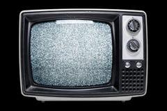 Vintage TV con una pantalla estática de la interferencia Foto de archivo libre de regalías