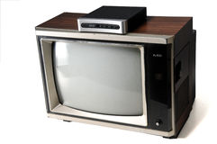 Vintage tv with digital converter Stock Photography