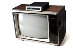 Vintage tv with digital converter. Vintage woodgrain tv with digital converter Stock Photography
