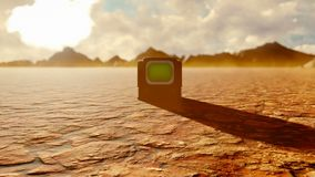 Vintage tv with green screen in the middle of the apocalyptic desert. Post-apocalypse, global warming, climate change stock illustration