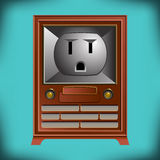 This vintage TV has an electrical outlet face Royalty Free Stock Image