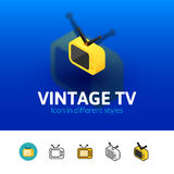 Vintage TV icon in different style Royalty Free Stock Photography