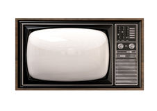 Vintage TV Isolated Front Royalty Free Stock Images