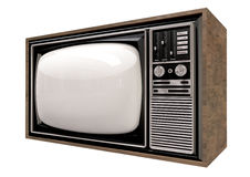 Vintage TV Isolated Perspective Royalty Free Stock Photos