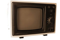Vintage TV isolated on white Royalty Free Stock Photography