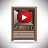 A vintage TV with a modern movie button Stock Photography