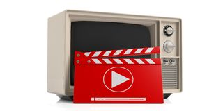 Vintage TV and movie clapper on white background. 3d illustration Royalty Free Stock Photo