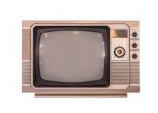 Vintage TV ou télévision d'isolement sur le fond blanc image libre de droits