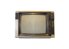 Vintage TV ou télévision d'isolement sur le fond blanc Photos stock
