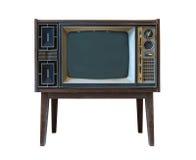 Vintage TV ou télévision d'isolement sur le fond blanc Photo libre de droits