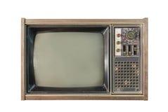 Vintage TV ou télévision d'isolement sur le fond blanc Photos stock