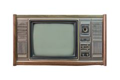 Vintage TV ou télévision d'isolement sur le fond blanc Photographie stock