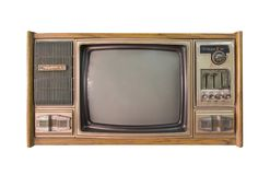 Vintage TV ou télévision d'isolement sur le fond blanc Photographie stock libre de droits
