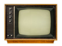 Vintage tv set. Front view of vintage tv set isolated on white, clipping path included Stock Photos