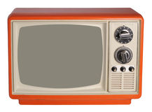 Vintage TV set. Orange vintage TV set, isolated on white Royalty Free Stock Photos
