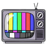 Vintage TV set illustration with test pattern. Old Television set with test pattern Royalty Free Stock Photo