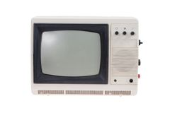 Vintage TV set isolated on white royalty free stock images