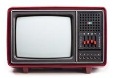 Vintage TV set. Vintage red Television set on white background Royalty Free Stock Image