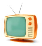 Vintage TV set on white Royalty Free Stock Photography