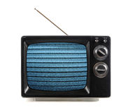 Vintage TV With Snow Patterns Stock Photo