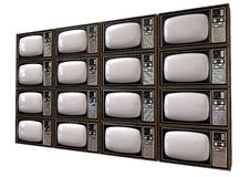 Vintage TV Stack Isolated Perspective Stock Photos