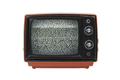Vintage TV with static isolated Stock Images