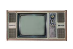 Vintage tv or television isolated on white background.  Stock Photo