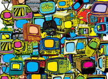 Vintage TVs background. Hand drawn  TVs background Royalty Free Stock Images