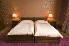 Vintage twin beds Stock Images