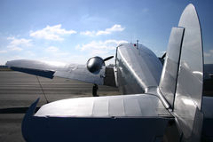 Vintage Twin Engine Airplane. Tail view of a vintage twin engine, fabric airplane Stock Photos