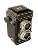 Vintage Twin-lens camera. 3/4 view Royalty Free Stock Photos
