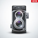 Vintage twin lens reflex camera. With closed viewfinder. Front view. Realistic retro design of medium format camera. Vector Illustration isolated on white stock illustration