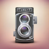 Vintage twin lens reflex camera. Front view. Realistic retro design of medium format camera. Vector Illustration stock illustration