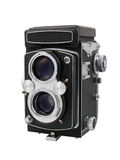 Vintage twin-lens reflex camera Stock Images