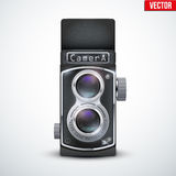 Vintage twin lens reflex camera. With open viewfinder. Front view. Realistic retro design of medium format camera. Vector Illustration on white background vector illustration