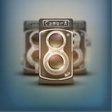 Vintage twin lens reflex cameras. Poster of Vintage twin lens reflex cameras. Front view. Realistic retro design of medium format camera. Vector Illustration stock illustration
