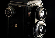 Vintage twin reflex camera. Close up Royalty Free Stock Images