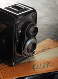 Vintage twin reflex camera. And filmstrip stock illustration