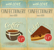 Vintage two Cards Cafe Menu Stock Image