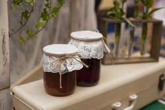 Vintage two jars of jam Royalty Free Stock Photo