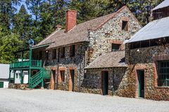 Vintage Two Story Stone Buildings Stock Photography