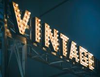 Vintage type Sign Light bulbs Type Retro Signage decoration. Vintage type Sign Light bulbs Type Retro Signage Hipster decoration Stock Photos