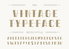 Vintage typeface retro line style. Modern alphabet trendy typography sans serif style for party poster, printing on fabric, t shirt, promotion, decoration Royalty Free Stock Photos