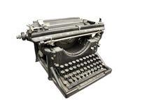 Vintage typewriter. Black and white typewriter isolated on white royalty free stock photography