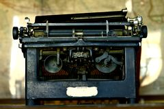Vintage Typewriter. Vintage Writing Machine. Pretty Old American Typewriter. Horizontal Photo. Historical Objects Photo Collection Stock Photo