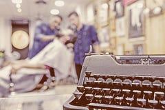 Vintage typewriter on a barber shop Stock Images